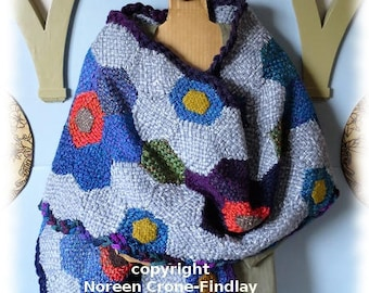 Hexagon Flower Shawl or Stole to Weave on Hexagon Looms PDF Pattern by Noreen Crone-Findlay