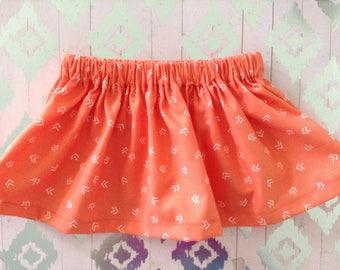 Coral skirt/ Orange skirt / Baby Skirt / Girl Skirt / Toddler Skirt / Baby Girl skirt / Baby Girl Outfit /  Girl Outfit