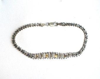 Vintage sterling silver bracelet, Mexican silver bracelet, Mexico, vintage silver jewellery, 1980s, 8.5 inches long