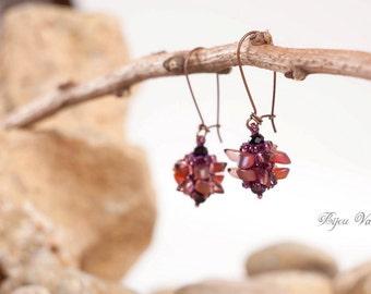 Earrings, dangle earrings, seed bead earrings, beaded jewelry, blue, gold earrings, pink earrings, bridesmaid jewelry, romantic earrings