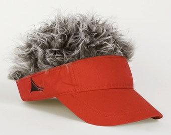 Flair Hair Red Visor Grey Hair