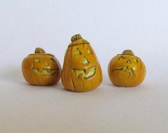 Miniature Halloween Jack-o-lanterns, Miniature Pumpkins, Cute Polymer Clay Pumpkins