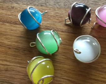 Cats Eye Glass Wire Wrapped Globes Pendant