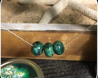 "16.25"" Sterling Silver Floating Chrysocolla Necklace"