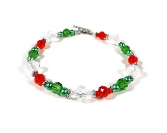 Beaded Holiday Bracelet, Red, Clear, and Green Bracelet, Crystal Bead Bracelet, Christmas Bracelet, Women's Holiday Jewelry, Gift for Her