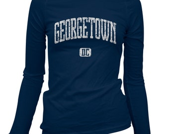 Women's Georgetown D.C. Long Sleeve Tee - S M L XL 2x - Ladies' Georgetown T-shirt, Washington DC - 3 Colors