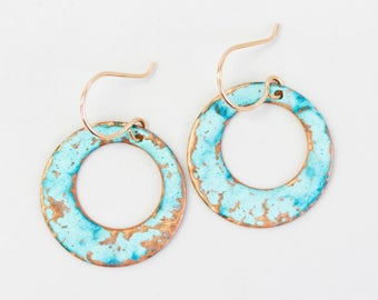 Hoop Earrings / Hoops / Small Copper Patina Hoops / Rustic Earrings / Rustic Jewelry / Trending / Gift for Her / Mint / Green Jewelry /March