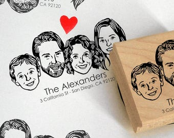 Personalized gift Custom address stamp Family portrait stamp Unique couples' art / Return / self ink / holiday christmas greetings cards