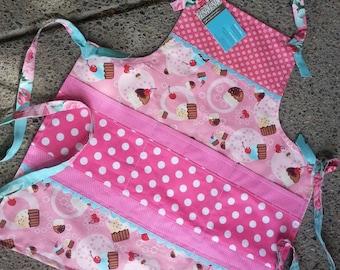 Girls Pink Cupcake Aprons - Pink Cupcake Girls Aprons - Kids Aprons - Girls Full Cupcake Aprons - Pink Cupcake Aprons - Annies Attic Aprons