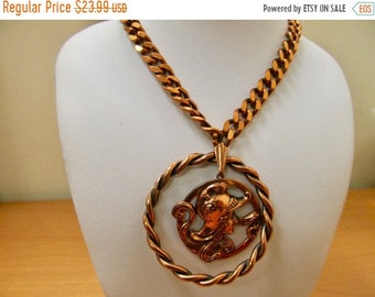 On Sale Vintage Copper Art Nouveau Inspired Woman Warrior Medallion Necklace Item K # 2350