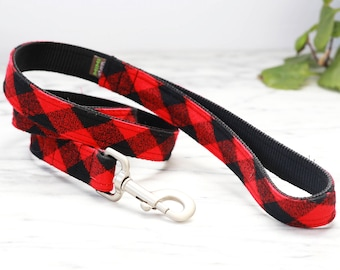 Buffalo Plaid Flannel Dog Leash - 4', 5' or 6' --  5 colors to choose from
