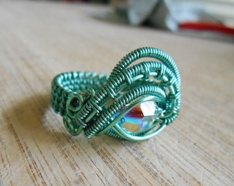 Crystal Eye Ring Swarovski AB Crystal Ring Round Bead Wire Wrapped Ring Seafoam Light Green Size 8.5 Wire Wrapped Jewelry Handmade