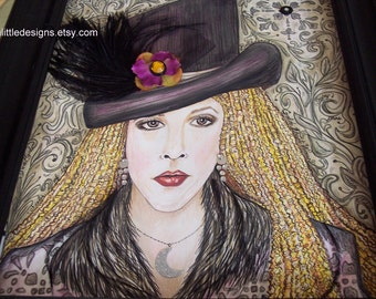STEVIE NICKS, Rock Goddess Extraordinaire, Art print of my original watercolor, pen and ink, painting