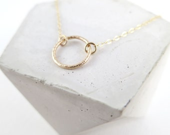 Simple Gold Circle Necklace   Gold Filled Dainty Circle Necklace