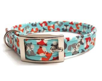 Dog collar, Aqua Blue, Fox collar, metal buckle dog collar, plastic buckle collar, adjustable dog collar, cute dog collar, designer dog