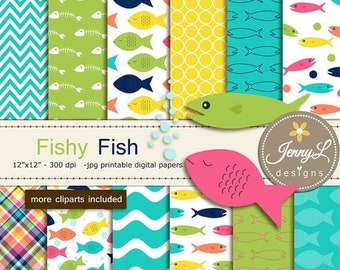 50% OFF Fish Digital papers and Clipart, for Birthday, Scrapbooking Paper Party Theme, Planner
