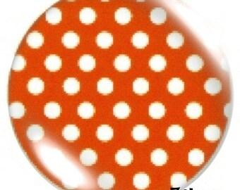 1 cabochon 30mm glass, orange polka dots