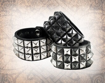Pyramid 3 Row - Studded Leather Cuff, Leather Cuff, Leather Wristband, Leather Bracelet, Leather Band (1 Cuff Only)
