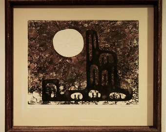 Laberterie Abstract Lithograph, Framed and Signed 1960s