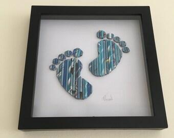 Baby Geschenk, Baby Fußabdrücke Kunst, Kinderzimmer Dekoration, Leinwände, Home Dekor, Kinder-Dekor, neues Baby Geschenk, Neugeborene, Kinder Geburtstagsgeschenk