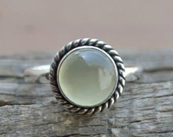 Natural Prehnite Gemstone Ring, Round Cab Prehnite Ring, 925 Sterling Silver Ring, Designer Prehnite Ring, Birthstone Ring, Wedding Ring