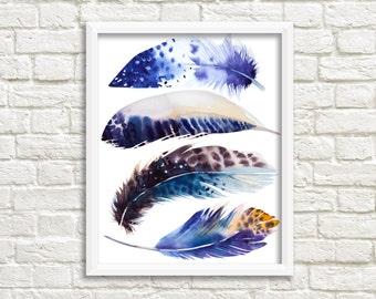 printable women gift Feather print, printable art, feather Art, boho wall art, Feather Printable, tribal wall art, feather nursery BLUE