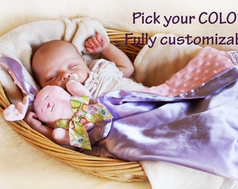 Minky Bunny Rabbit Security Blanket baby blanket Lovey Blanket Satin Baby Blanket Stuffed Animal Baby Toy - Customize Colors