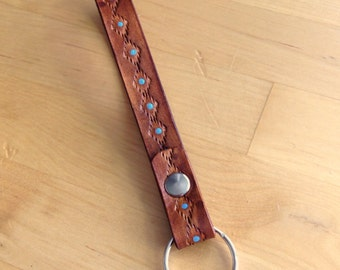 Leather Key Wristlet #6 Keychain Key Fob Key Ring Southwest Distressed Java Brown with Turquoise Dots- Love That Leather