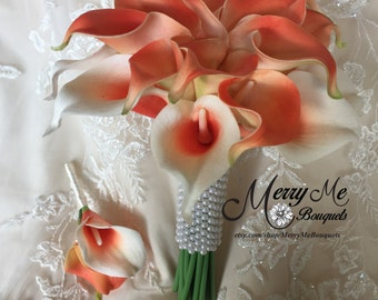 Coral Bouquet - Coral Calla Lily Bouquet - Coral Bridesmaid Bouquet - Coral Real Touch Bouquet - Coral True Touch Bouquet