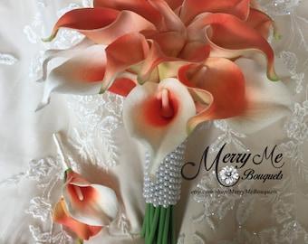 Coral Bouquet - Coral Calla Lily Bouquet - Coral Bridesmaid Bouquet - Coral Real Touch Bouquet - Coral True Touch Bouquet