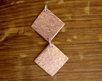 Hammered copper square necklace
