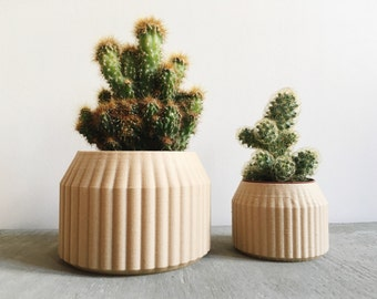Minimalist Geometric Wood Planter for succulents or cacti / Made in France / TERRE