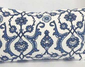 Blue floral pillow cover,white and blue pillow,Indigo pillow cover
