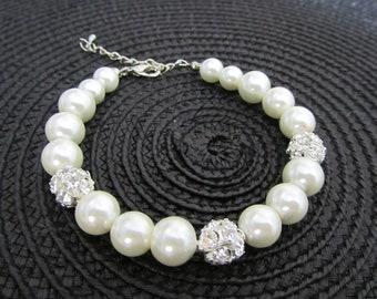 Pearl Bracelet,Wedding Jewelry, Ivory pearl bracelet with rhinestones, Bridal bracelet, Bridesmaid bracelet, Bridesmaid gift,