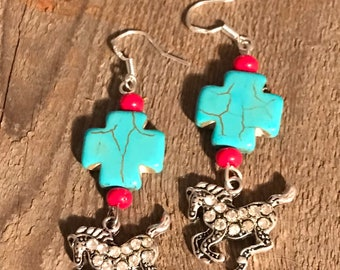 Turquoise cross with silver horse earrings