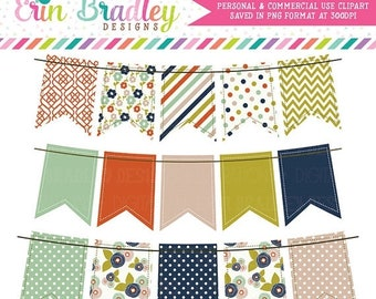 80% OFF SALE Colorful Fall Bunting Clipart Graphics Banner Flag Digital Clip Art Set with Stripes Polka Dots & Flowers Instant Download
