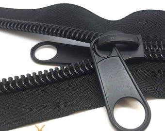 Black #10 Heavy Duty Continuous Tent Zip, 2-way slider for zipper
