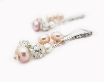 Freshwater Pearl Earrings, Blush Wedding Earrings, Cluster Bridal Earrings, Dangle Pearl Earrings, Wedding Jewelry Pink Blush Ivory White