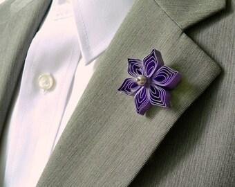 Violet Purple Lapel Pin, Purple Pinback, Pushback Pin, Mens Lapel Flower