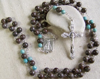 Men's Catholic rosary with Brown Snowflake Jasper and blue Riverstone