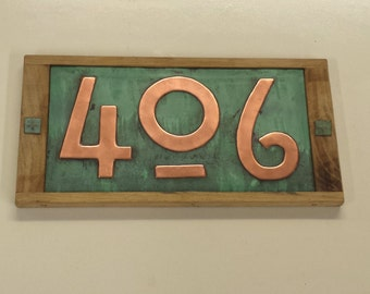 """Mission Mackintosh house numbers, Oak framed and Copper address plaque, 3 x nos 3""""/75mm, 4""""/100mm high  polished, patinated and laquered g"""