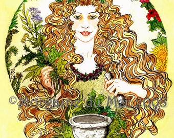 Airmid Celtic Herb Goddess Print Pagan Mythology Magickal Fantasy Fine Art Pen and Ink Watercolor Illustration Altar Decor