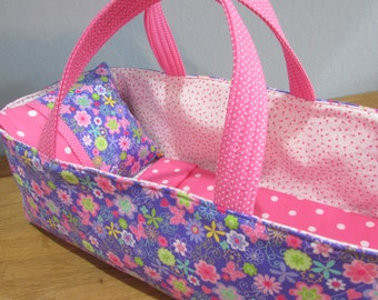 Doll Carrier, Lavender and Pink Floral and Butterfly with Pink and White lining, 14 Inches Long, Doll Basket