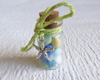 Pastel milk glass Seaham seaglass miniature bottle, genuine English sea glass, glass display, beach glass vial, silver starfish charm