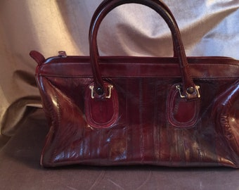 1980's Red Eel skin leather purse bag