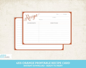 Orange 4x6 Printable Recipe Card