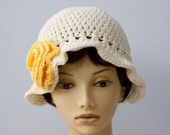 Summer Cotton Sun Hat, Custom Chose Colors,  Flower Cloche,  Brimmed Hat, Crochet  Hat, Vegan Hat