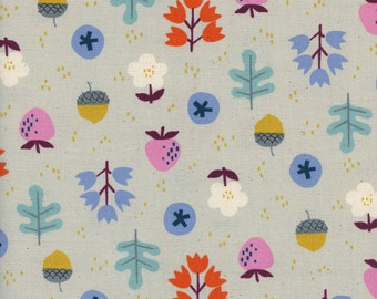 Welsummer Forage in Grey, Kim Kight, Cotton and Steel, RJR Fabrics, 100% Cotton Fabric, 3059-02