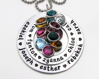 Hand Stamped Necklace, Personalized Necklace, Personalized Birthstone Necklace, Mothers Day Gift, Large Family Necklace Hand Stamped Jewelry