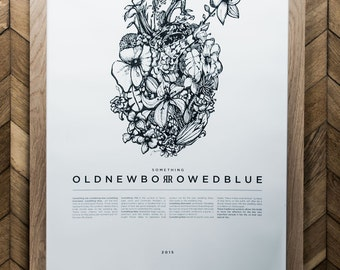 Old New Borrowed Blue / Exclusive Artwork / Screen Print / Love / Wedding Poster / Lucky Charm